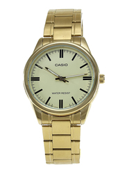 Casio Enticer Analog Watch for Men with Stainless Steel Band, Water Resistant, MTP-V005G9A, Gold