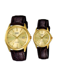 Casio Enticer Analog Quartz Couple Unisex Watch Set with Leather Band, Water Resistant, MTP/LTP-1183Q-9A, Brown-Gold