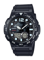 Casio Youth Series Analog/Digital Watch for Men with Resin Band, Water Resistant, AEQ-100W-1AVEF, Black-Black/White