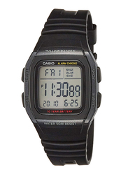 Casio Youth Digital Watch for Men with Resin Band, Water Resistant, W-96H-1B, Black