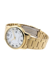Casio Analog Quartz Couple Unisex Watch Set with Stainless Steel Band, Water Resistant, MTP/LTP-V002G-7BUDF, Gold-White