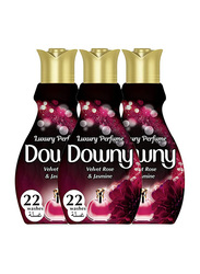 Downy Perfume Collection Feel Elegant Velvet Rose & Jasmine Fabric Softener, 3 Bottles x 880ml