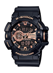 Casio G-Shock Analog/Digital Watch for Men with Resin Band, Water Resistant, GA-400GB-1A4DR, Black-Rose Gold