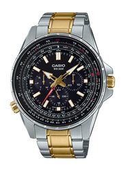Casio Enticer Analog Watch for Men with Stainless Steel Band, Water Resistant with Chronograph, MTP-SW320SG-1AVDF, Silver/Gold-Black