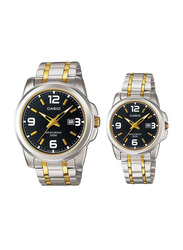 Casio Enticer Analog Quartz Couple Unisex Watch Set with Stainless Steel Band, Water Resistant, MTP/LTP-1314SG-1A, Silver/Gold-Black