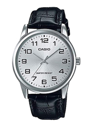Casio Enticer Analog Watch for Men with Leather Band, Water Resistant, MTP-V001L-7B, Black-Silver