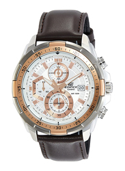 Casio Edifice Analog Watch for Men with Leather Band, Water Resistance and Chronograph, EFR-539L-7AVUDF, Brown-White