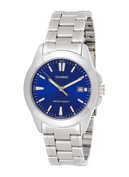 Casio Analog Watch for Women with Stainless Steel Band, Water Resistant, LTP-1215A-2A2DF, Silver-Blue