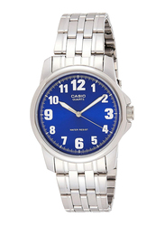 Casio Enticer Analog Watch for Men with Stainless Steel Band, Water Resistant, MTP-1216A-2BDF, Silver-Blue