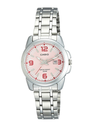 Casio Enticer Analog Quartz Watch for Women with Stainless Steel Band, Water Resistant, LTP-1314D-5AVDF, Silver-Pink