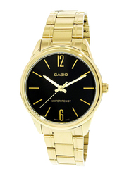 Casio Enticer Analog Watch for Men with Stainless Steel Band, Water Resistant, MTPV005G-1B, Gold-Black