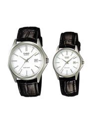 Casio Enticer Analog Quartz Couple Unisex Watch Set with Leather Band, Water Resistant, MTP/LTP-1183E-7A, Black-White