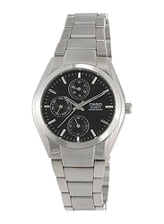 Casio Enticer Analog Watch for Men with Stainless Steel Band, Water Resistant and Chronograph, MTP1191A-1A, Silver-Black