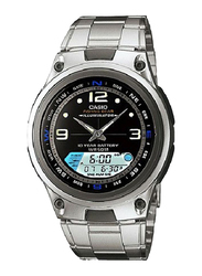Casio Analog/Digital Quartz Watch for Men with Stainless Steel Band, Water Resistant, AW-82D-1A, Silver-Black