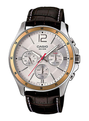 Casio Enticer Analog Watch for Men with Leather Band, Water Resistant with Chronograph, MTP-1374L-7AV, Black-Gold/Silver