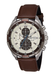 Casio Edifice Analog Watch for Men with Leather Band, Water Resistance and Chronograph, EFR-539L-7BVUDF, Brown-Off White