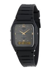 Casio Analog/Digital Quartz Watch for Men with Resin Band, Water Resistant, AW-48HE-8AV, Black-Grey