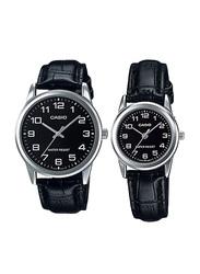 Casio Analog Quartz Couple Unisex Watch Set with Leather Band, Water Resistant, MTP/LTP-V001L-1BUDF, Black