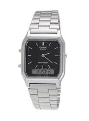 Casio Analog/Digital Quartz Watch for Men with Stainless Steel Band, Splash Resistant, AQ-230A-7DMQY, Silver-Black