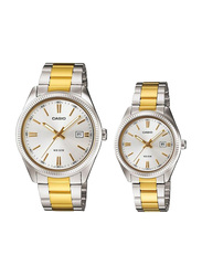 Casio Enticer Analog Quartz Couple Unisex Watch Set with Stainless Steel Band, Water Resistant, MTP/LTP-1302SG-7AV, Silver/Gold-Silver
