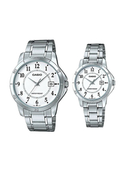 Casio Analog Quartz Couple Unisex Watch Set with Stainless Steel Band, Water Resistant, MTP/LTP-V004D-7B, Silver-White