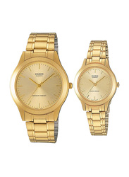 Casio Analog Couple Unisex Watch Set with Stainless Steel Band, Water Resistant, MTP-LTP-1128N-9A, Gold