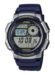 Casio Youth Series Digital Watch for Men with Resin Band, Water Resistant, AE-1000W-2AV, Blue-Black