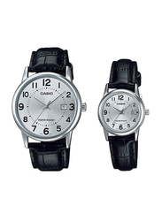 Casio Analog Quartz Couple Unisex Watch Set with Leather Band, Water Resistant, MTP/LTP-V002L-7BUDF, Black-Silver