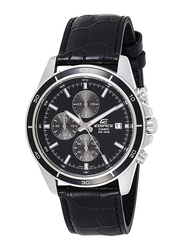 Casio Edifice Analog Watch for Men with Leather Band, Water Resistance and Chronograph, EFR-526L-1AV, Black