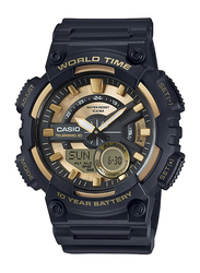 Casio Youth Series Analog/Digital Quartz Watch for Men with Resin Band, Water Resistant, AEQ-110BW-9AVDF, Black-Gold
