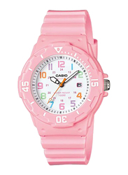 Casio Youth Analog Quartz Watch for Women with Resin Band, Water Resistant, LRW-200H-4B2V, Pink-White