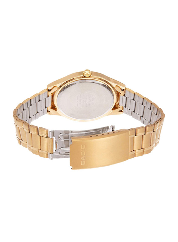 Casio Enticer Analog Quartz Couple Unisex Watch Set with Stainless Steel Band, Water Resistant, MTP/LTP-1128N-9A, Gold