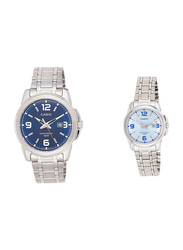 Casio Enticer Analog Quartz Couple Unisex Watch Set with Stainless Steel Band, Water Resistant, MTP/LTP-1314D-2AV, Silver-Blue