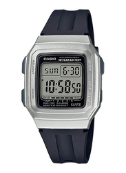 Casio Youth Digital Unisex Watch with Resin Band, Water Resistant, F-201WAM-7AVEF, Black-Silver