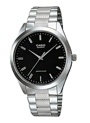 Casio Enticer Analog Radiant Quartz Watch for Men with Stainless Steel Band, Water Resistant, MTP-1274D-1ADF, Silver-Black