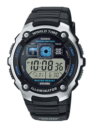 Casio Casual Digital Watch for Men with Resin Band, Water Resistant, AE2000W-1A, Black-Black/Silver