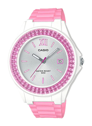 Casio Analog Watch for Women with Resin Band, Water Resistant, LX-500H-4E3VEF, Pink/White-Silver