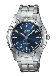 Casio Enticer Analog Quartz Watch for Men with Stainless Steel Band, Water Resistant, MTP-1243D-2AVDF, Silver-Blue