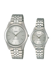 Casio Enticer Analog Quartz Couple Unisex Watch Set with Stainless Steel Band, Water Resistant, MTP/LTP-1129A-7A, Silver