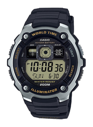 Casio Youth Series Digital Watch for Men with Resin Band, Water Resistant, AE-2000W-9AVDF, Black-Black/Yellow