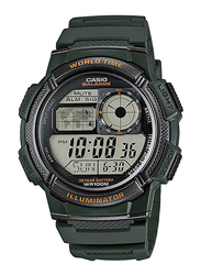 Casio Youth Series Digital Watch for Men with Resin Band, Water Resistant, AE-1000W-3A, Green-Black