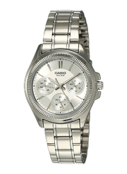 Casio Enticer Analog Watch for Women with Stainless Steel Band, Water Resistance and Chronograph, LTP-2088D-7A, Silver