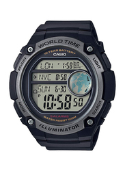 Casio Digital Watch for Men with Resin Band, Water Resistant, AE-3000W-1AVDF, Black-Black/Grey