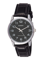 Casio Enticer Analog Watch for Men with Leather Band, Water Resistant, MTP-V001L-1B, Black