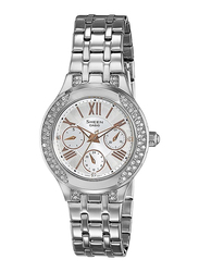 Casio Sheen Analog Watch for Women with Stainless Steel Band, Water Resistant and Chronograph, SHE-3809D-7AUDR, Silver-White