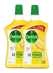 Dettol Lemon Anti-Bacterial Floor Cleaner, 2 Bottles x 900ml