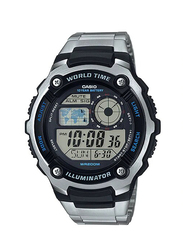 Casio Illuminator Digital Watch for Men with Stainless Steel Band, Water Resistant, AE-2100WD-1AVDF, Silver-Black