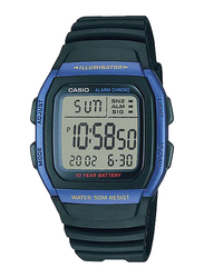Casio Youth Digital Watch for Men with Resin Band, Water Resistant, W-96H-2A, Black-Blue/Grey