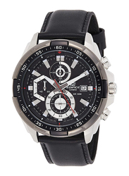 Casio Edifice Analog Watch for Men with Leather Band, Water Resistance and Chronograph, EFR-539L-1AVUDF, Black