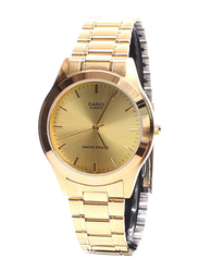 Casio Enticer Analog Quartz Watch for Men with Stainless Steel Band, Water Resistant, MTP-1128N-9A, Gold